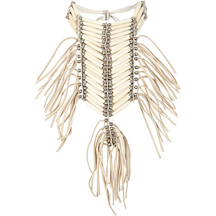 Cream tribal fringed bib necklace