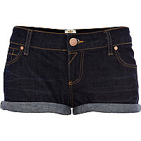 Dark wash turn up denim shorts