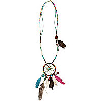 Multicoloured long dream catcher necklace