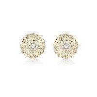 Gold tone oversized flower stud earrings
