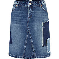 Mid wash patchwork denim pencil skirt