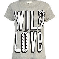 Grey Wild Love print t-shirt