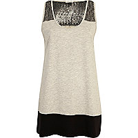 Grey sequin colour block vest