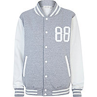 Grey studded varsity jacket