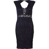Navy peekaboo lace dress
