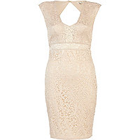 Cream peekaboo lace dress