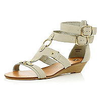 Cream double ankle buckle wedge sandals