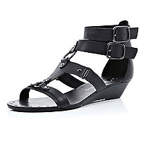 Black double buckle gladiator sandals