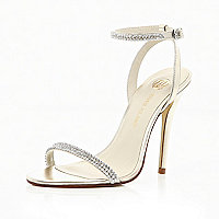 Gold diamante strap barely there sandals