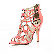 Coral diamante embellished caged sandals
