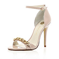 Cream chain embellished barely there sandals
