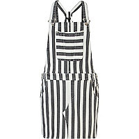 Grey stripe denim dungaree dress