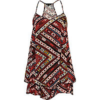 Red tribal print hitched dress