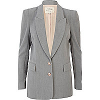 Grey structured panel smart blazer