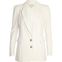 White structured panel smart blazer
