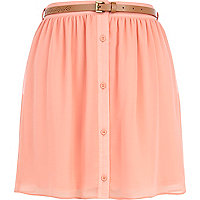 Coral button up belted mini skirt