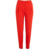 Red soft turn up tapered trousers