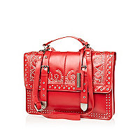 Red leather studded satchel