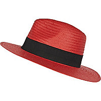 Red Panama straw hat