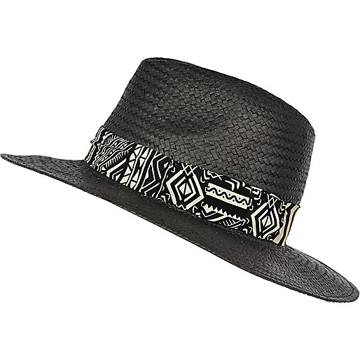 Black straw Panama hat with zebra print trim