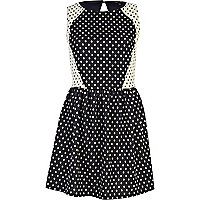 Navy polka dot contrast panel skater dress