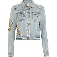 Light wash embroidered denim jacket
