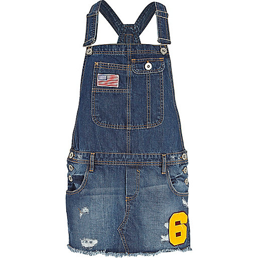 Dark wash varsity denim dungaree dress