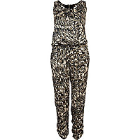 Green camo print racer back smart jumpsuit