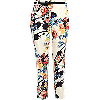 Cream oriental print trousers