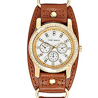Brown leather diamante cuff watch