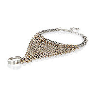 Gold and silver tone chainmail hand harness