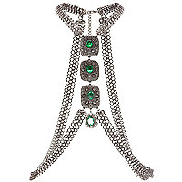 Green gem stone chain mail body harness