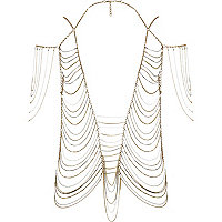 Gold tone draped chain body harness top