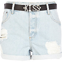 Light wash ripped kiss belt denim shorts