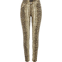 Brown snake print Amelie superskinny jeans