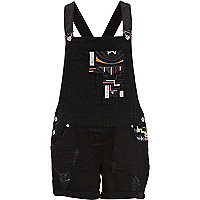 Black ripped embroidered denim dungarees