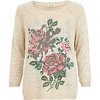 Beige pixelated flower print jumper