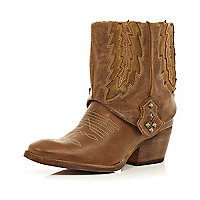Brown turn over embroidered western boots