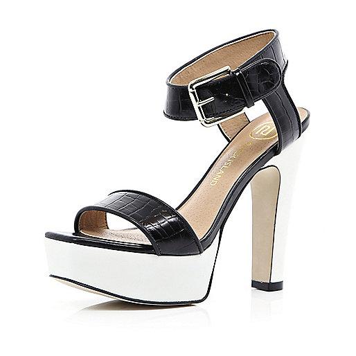 Black croc contrast platform sandals