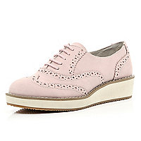 Pink flatform lace up brogues