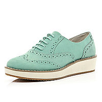 Mint green flatform lace up brogues