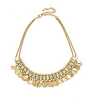 Gold tone coin dangle short necklace