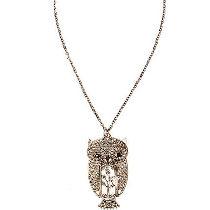 Gold town filigree owl pendant necklace