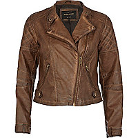 Brown leather look biker jacket