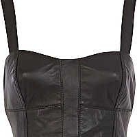 Black leather bralet