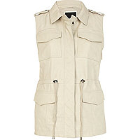 Cream leather utility gilet