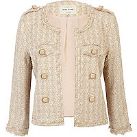Gold boucle stud cropped military jacket