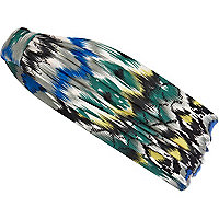 Blue tribal print stretch hair band