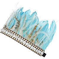 Blue feather stud embellished head band