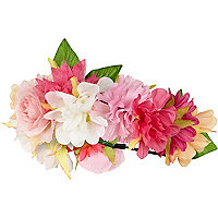 Pink flower hair garland